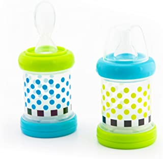 Sassy Baby Food Nurser – 4+ Months Set of 2- 4oz 100% Silicone Nipple and Spoon BPA-Free