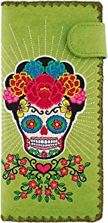 LAVISHY Embroidered Sugar Skull With Corolla Flower Vegan/Faux Leather Large Flat Wallet (Green)