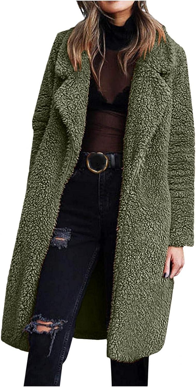 Women's Fuzzy Fleece Lapel Open Front Long Cardigan Coat Faux Fu