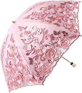 Wedding Lace Sun UV Parasol 2 Folding 3D Flower Embroidery Umbrella 1811 Pink