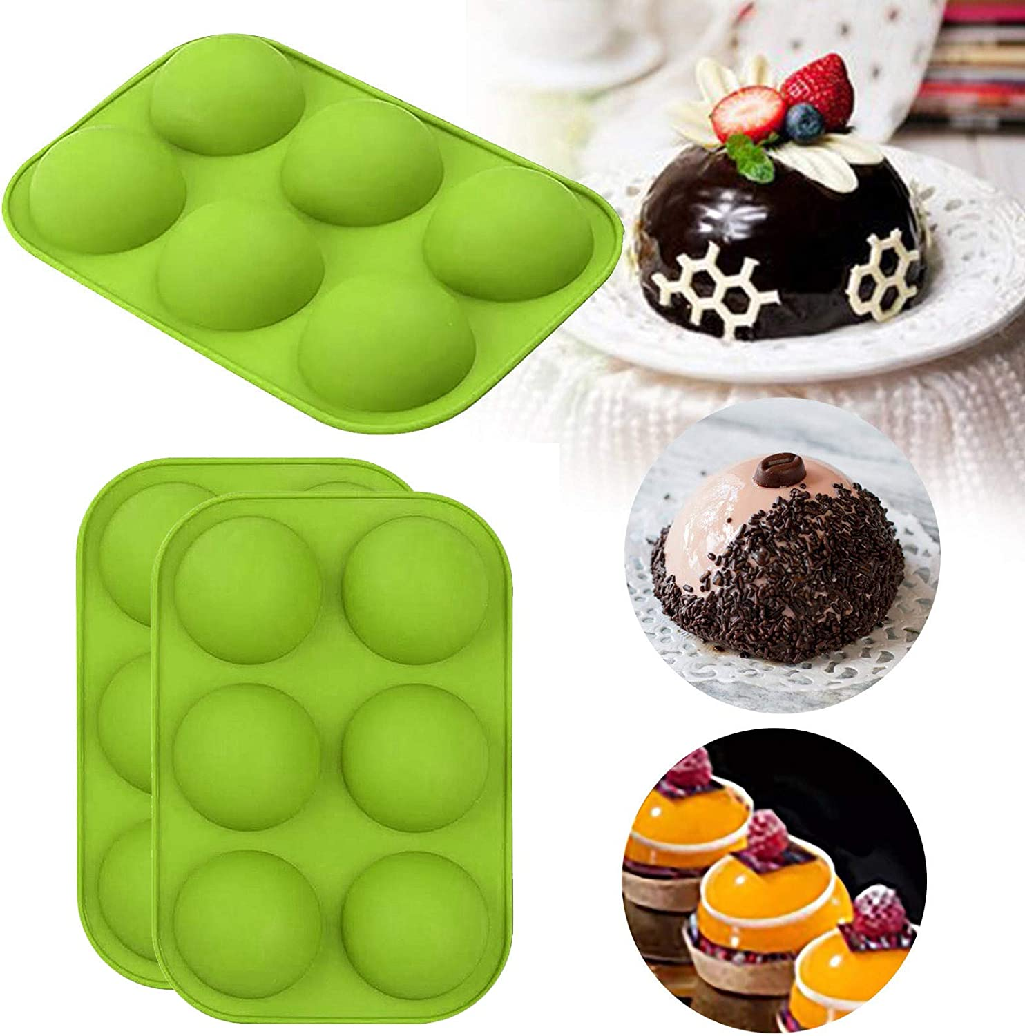 BPA Free Cupcake Baking Pan Non Stick Round Shape Half Sphere Mold Baking Mold for Making Hot Chocolate Bomb,Cake Black, 2Pcs Jelly 6 Holes Silicone Mold for Chocolate Pudding