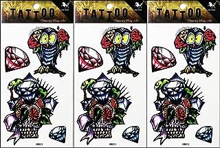 PP TATTOO 3 Sheets Temporary Tattoos Stickers Fantasy Diamond Owl Skull Cartoon Tattoo Sticker for Men Women Guys Waterproof Body