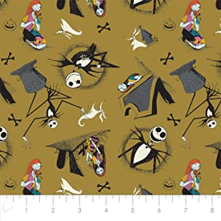 Disney The Nightmare Before Christmas Jack is Back Tombstones in Golden Green Cotton Fabric by The Yard