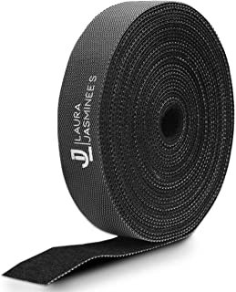 LJ Hook and Loop Fastening Tape, Self-Adhesive, Sticky Back Roll, Flexible Reusable Black Velcro, Cable Tidy Management Or...