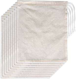 15 Packs Cotton Muslin Bags with Drawstring, Natural Color (8 x 10 Inches)