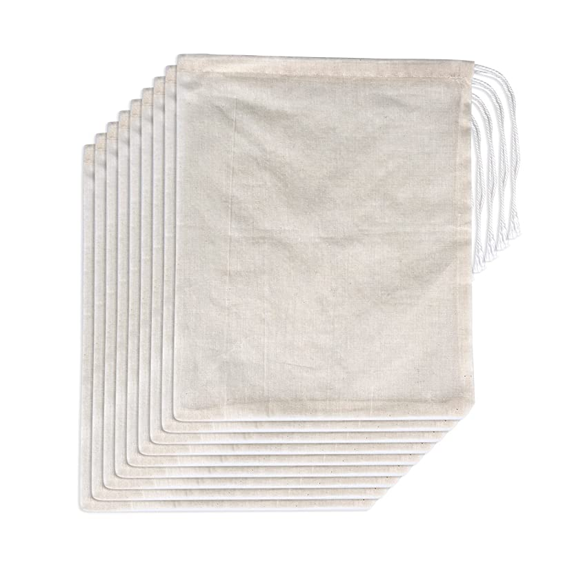 Pangda 15 Pack Cotton Muslin Bags with Drawstring, Natural Color, 10 x 8 Inches