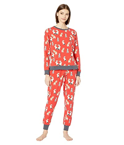 BedHead Pajamas Long Sleeve Pullover Crew Jogger Set (Sweet Hearts) Women