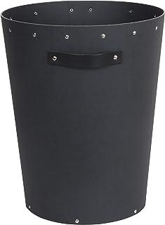 Bigso Box of Sweden Corbeille à papier pour bureau - Poubelle avec poignée en cuir - Poubelle de bureau moderne en panneau...