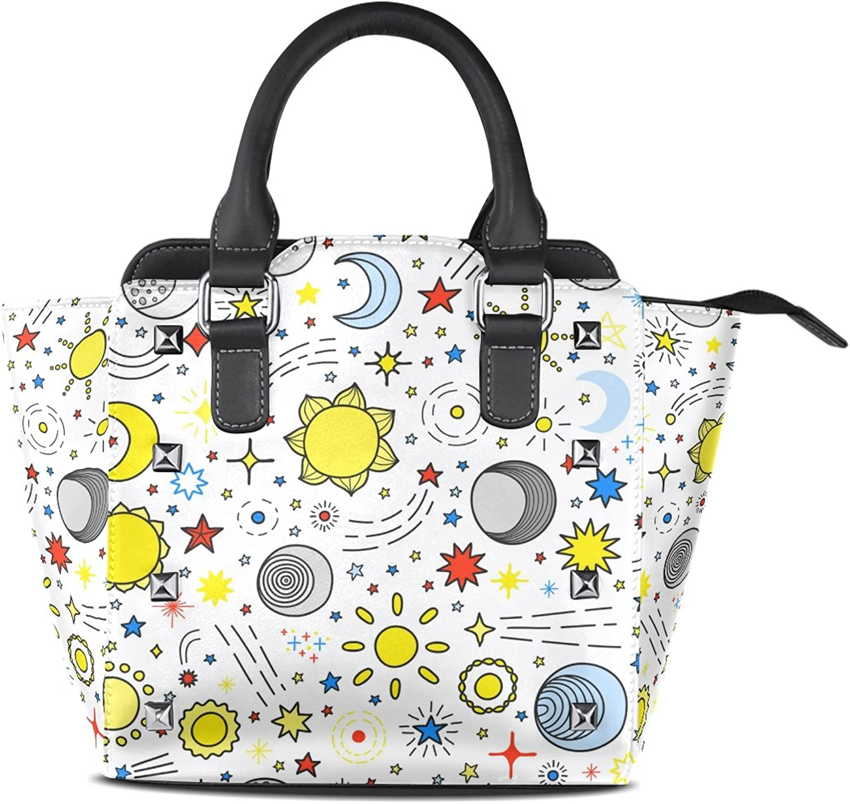 My Little Nest Women's Top Handle Satchel Handbag Cute Cartoon Sun Moon and Stars Ladies PU Leather Shoulder Bag Crossbody Bag