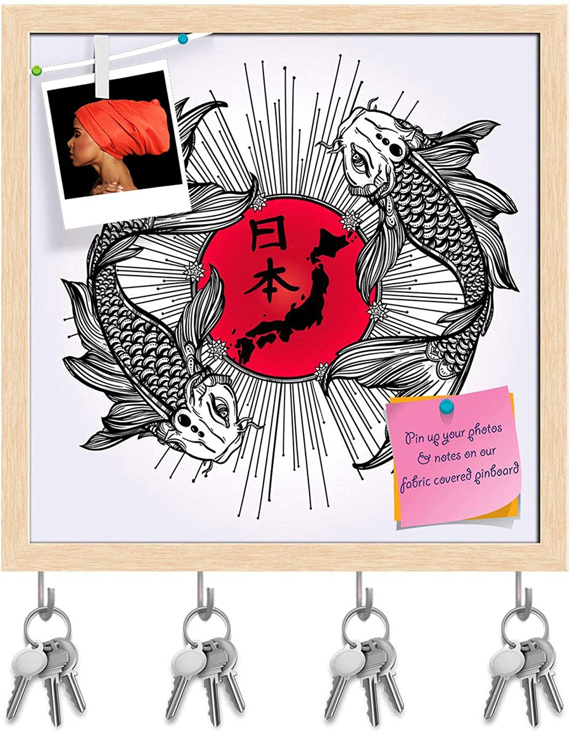 Artzfolio Romantic Fish Koi Carp with Japanese Flag Key Holder Hooks   Notice Pin Board   Natural Brown Frame 20 X 20Inch