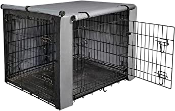 yotache Dog Crate Cover for 18 22 24 30 36 48 Inches Double Door Wire Dog Cage, Lightweight 600D Polyester Indoor/Outdoor Durable Waterproof Pet Kennel Covers, Gray