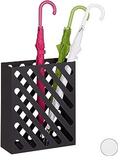 Gouttes de Pluie Carr/é 49 x 15,5 x 15,5 cm avec Un Plateau et Crochets Blanc Support pour Parapluies LZQ Porte parapluies en M/étal