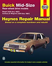 Buick Mid-Size RWD Regal (74-87) & Century/Century Wagon (74-81) Haynes Repair Manual (Does not include information specific to diesel engine, or fuel injected/turbocharged V6 information)