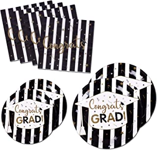 200PCS Graduation Party Supplies Paper Plates and Napkins Bulk for 50 Guests Dessert Round Disposable Plates Black Gold Tableware Set (for Graduation)