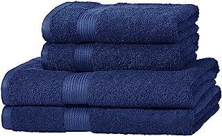 comprar comparacion AmazonBasics - Juego de toallas (2 toallas de baño y 2 toallas de manos), 100% algodón 500 g / m², Azul (Royal Blue)