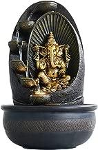 eCraftIndia Oval Textured Lord Ganesha Polystone Water Fountain (27 cm x 27 cm x 42 cm, Brown)