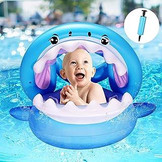 Yosemy Flotador para Bebé con Sombrilla Barco Inflable Flotador con Asiento Piscina Juguetes de Natación en Agua para Niño...