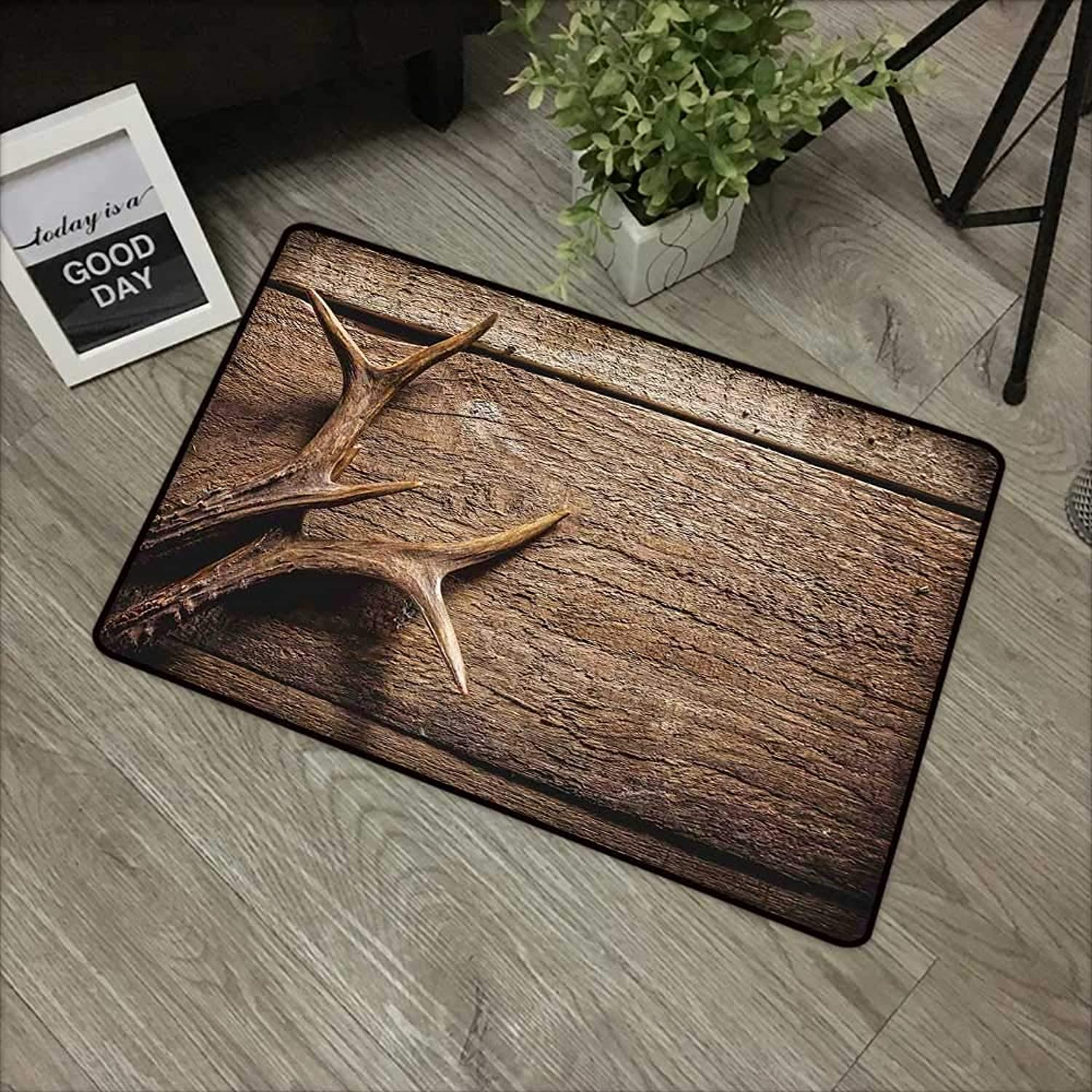 Bathroom Anti-Slip Door mat W35 x L59 INCH Antlers Decor,Deer Antlers on Wood Table Rustic Texture Surface Hunting Season Decorating Non-Slip, with Non-Slip Backing,Non-Slip Door Mat Carpet
