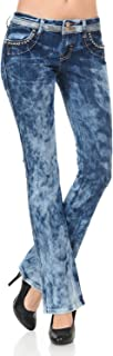 VIRGIN ONLY Women's Acid Wash Embellished Straight Jeans