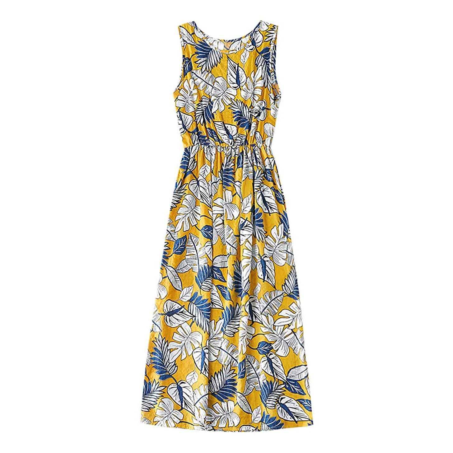 Women Sleeveless Swing Midi Dress Summer Casual Crew Neck Floral Print Tank Flowy Pleated Short Beach T-Shirt Dresses