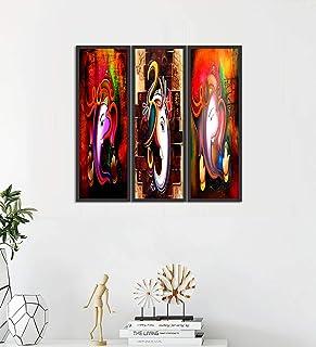 Go Hooked Digital Printed Framed Ganesha Wall Painting Set of 3 (Size 6 x 18 Inch, Frame Colour: Black)