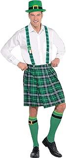 Party City Adult Plaid St. Patrick's Day Kilt Costume, 5 Pieces, Includes Kilt and Hat