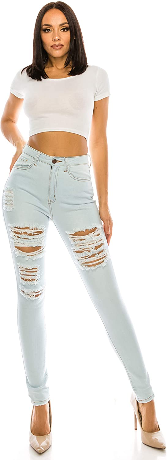 Aphrodite High Waisted Jeans for Women - High Rise Skinny Womens Hand Sanding Distressed Ripped Jeans with Flap Pockets 4738 Light Blue 11