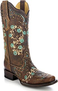 CORRAL Women's Studded Floral Embroidery Cowgirl Boot Square Toe