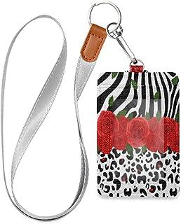 HMZXZ Porte-badge d'identification vertical en cuir synthétique avec cordon détachable Motif zèbre, léopard, rose