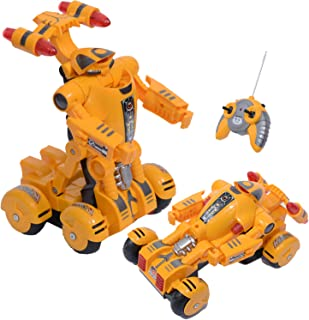 YARMOSHI Remote Control Car Robot Toy. Does Battle Dance. Flashing Lights. RC Toy for Kids 4+ (Yellow)