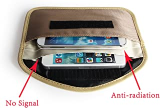 Cell Phone Anti-Tracking Anti-Spying GPS RFID Signal Blocker Pouch Case Bag Handset Function Bag (Beige)