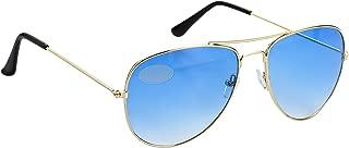 Pilot Style Blue Lens Sunglasses Designer Unisex UV400 Protection Shades