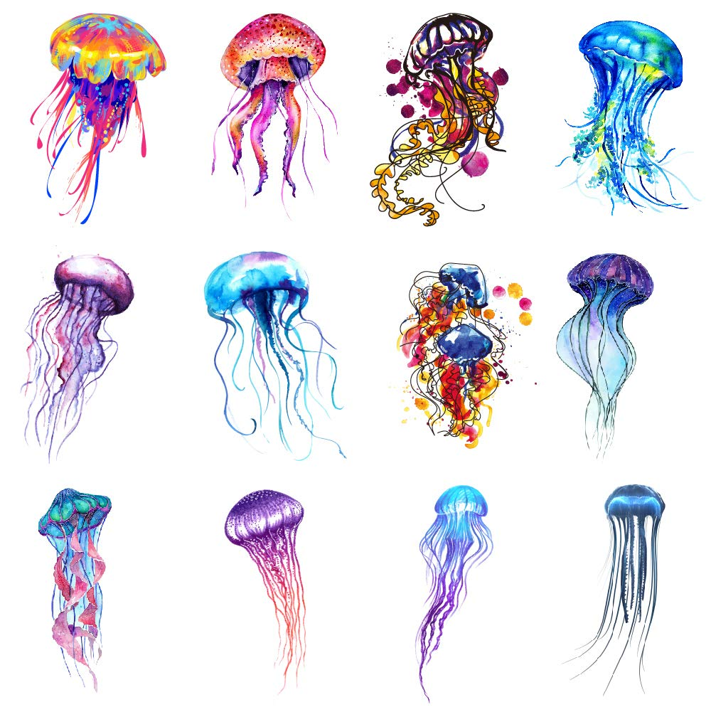 SanerLian Jellyfish Watercolor Temporary Sticker Wa Ocean 2021 Bombing new work spring and summer new Tattoo