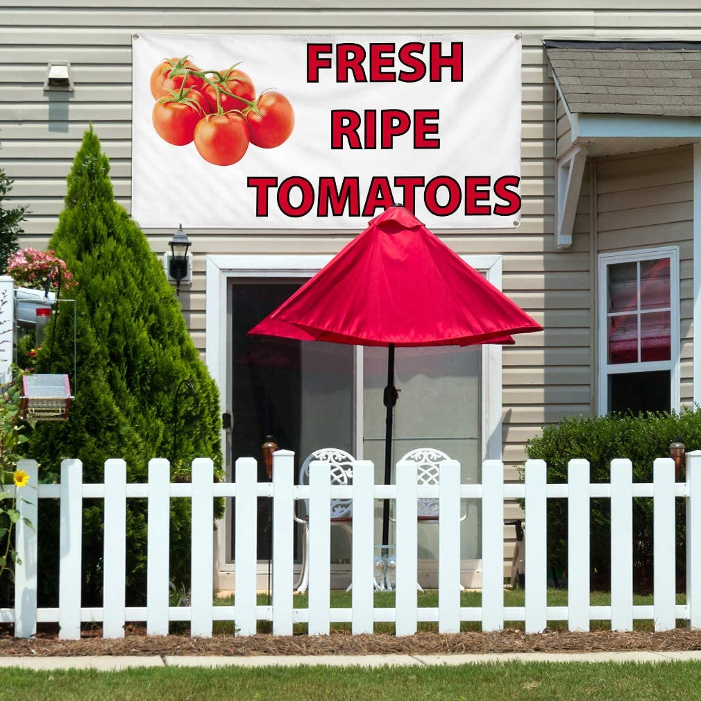 Vinyl Banner Multiple Sizes Fresh Ripe Tomatoes Advertising Printing Business Outdoor Weatherproof Industrial Yard Signs White 8 Grommets 48x96Inches