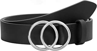 Black Women Leather Belt with Fashion Silver Double Ring Buckle,SUOSDEY Western Designer Belts for Women