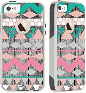 Unnito iPhone 5 Case/iPhone 5s / SE Case [Dual Layered Hybrid] Protective Commuter Case for iPhone 5 / 5S / SE (White Case - Aztec Wood Chevron)