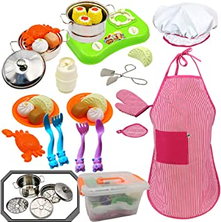 Kids Kitchen Toy with Stainless Steel Cookware Pots and Pans ,Cooking Utensils, Apron, Chef Hat, Dumplings Steamed Bread Crab Foods Cookware with Dish and Durable Storage Box for Kids