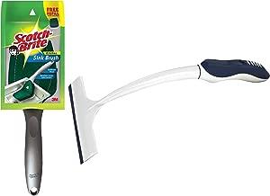 Scotch-Brite Plastic Kitchen Sink Brush (Silver) & Scotch-Brite Kitchen Squeegee Wiper, White/Blue