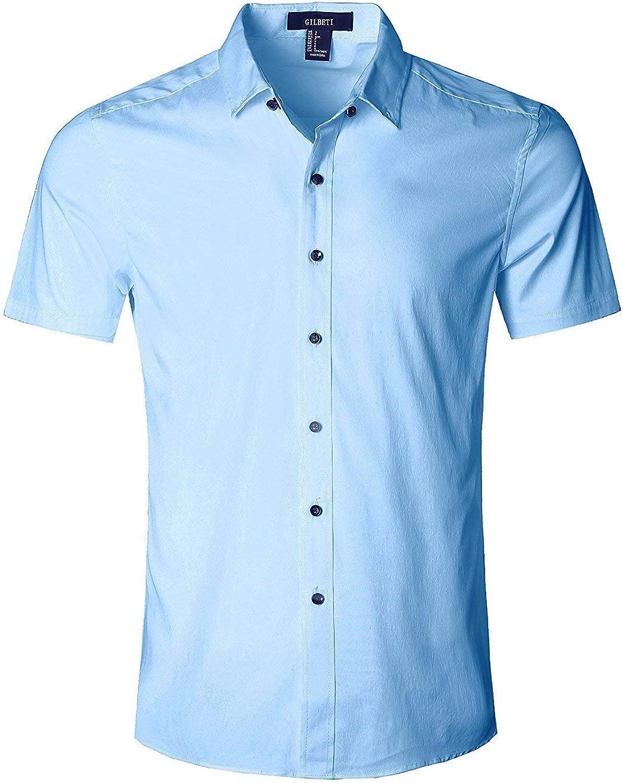 Camisa Manga Corta Camisetas de Trabajo para Hombres con Botones, Shirt Ajustada para Verano, Slim Fit, Regular Fit y Casual