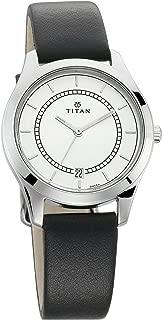 Titan Work Wear White Dial Black Leather Strap Analog Watch for Women