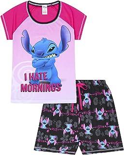 "Disney - Lilo and Stitch - Pijama corto para mujer con frase en inglés ""I Hate Mornings"""