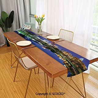SCOCICI Dining Table Runner,Dresser Scarf,for Farmhouse Dinner,Holiday Parties,Wedding,Events,Decor North Carolina Marshall Park United States American Night Reflections on 13x70inch