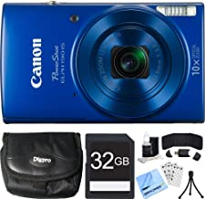 Canon PowerShot ELPH 190 is Blue Digital Camera 32GB Card Bundle Includes Camera, 32GB Memory Card, Reader, Wallet, Case, Mini Tripod, Screen Protectors, Cleaning Kit and Beach Camera Cloth