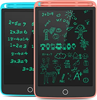 TECBOSS LCD Writing Tablet, 2 Pack Electronic Writing Drawing Board Pad Erasable, Kids Doodle Board Educational Toys Gifts for 3-6 Years Old Boys and Girls, 8.5 Inch (Blue and Pink)