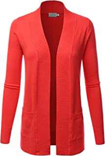 Women's Open Front Pockets Knit Long Sleeve Sweater Cardigan(S~XL)