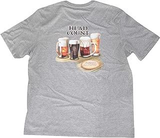 Tommy Bahama Men's S/S Head Count Tee Shirt (Medium) Beer T-Shirt Gray