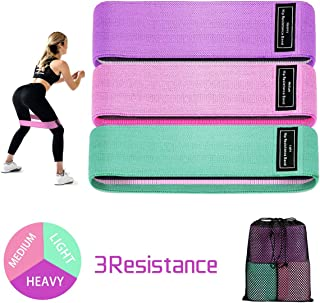 Fabric Resistance Band Loop, 5 Non-Slip Elastic Booty Workout Exercise Bands, Cotton and Rubber Fabric, Stretch Hip Bands for Legs, Butt, and Yoga, 3 Pack Set
