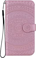 Reevermap Nokia 3.1 Case Leather, Protective Wallet Flip Embossed Mandala Premium Kickstand Magnetic Buckle Notebook Cover for Nokia 3.1, Rose Gold