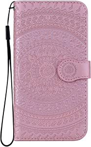 Reevermap Huawei P20 Lite Case Leather  Protective Wallet Flip Embossed Mandala Premium Kickstand Magnetic Buckle Notebook Cover for Huawei P20 Lite  Rose Gold