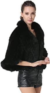 Women's Real Mink Fur Knitted Cappa with Fox Fur Collar Winter Warm Wedding Cloak Soft Natural Fur Cape